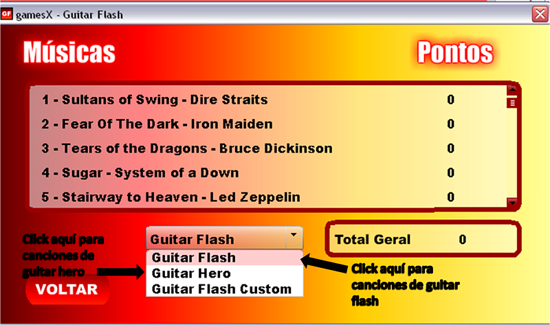 Guitar Hero Flash Para Pc Con Todos Los Temas