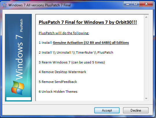 Windows 7 Activator PlusPatch 8 Final работает со всеми версиями Windows 7