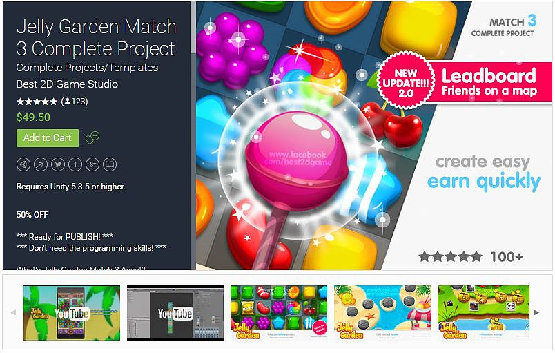 Unity Assets Jelly Garden Match 3 Complete Project