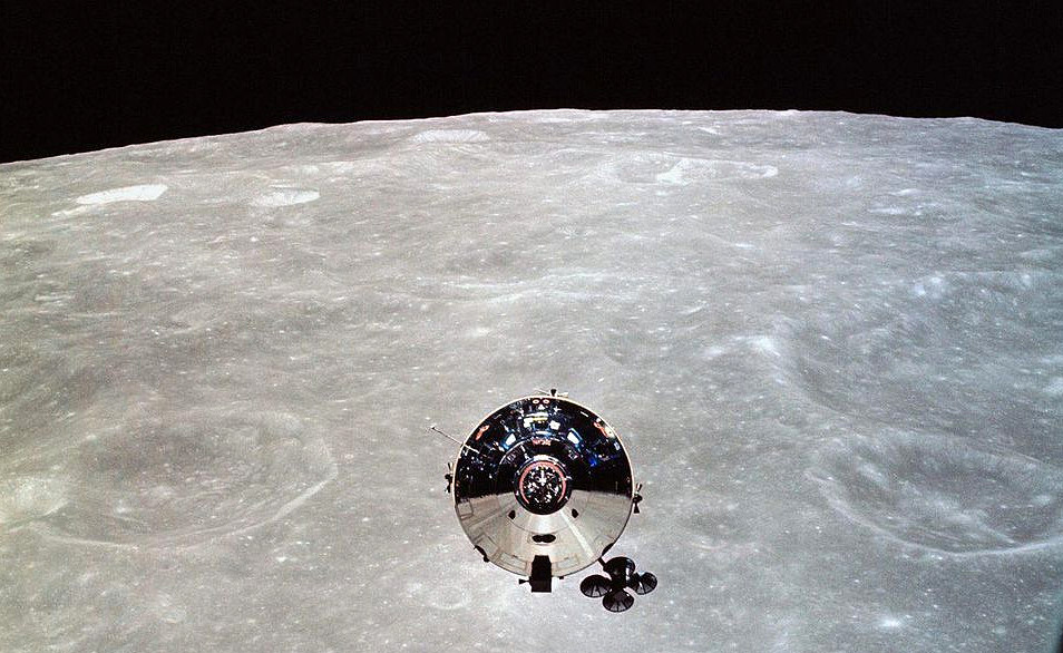 "Apollo 10 Command Module ""Charlie Brown"" seen during rendezvous with Lunar Module."