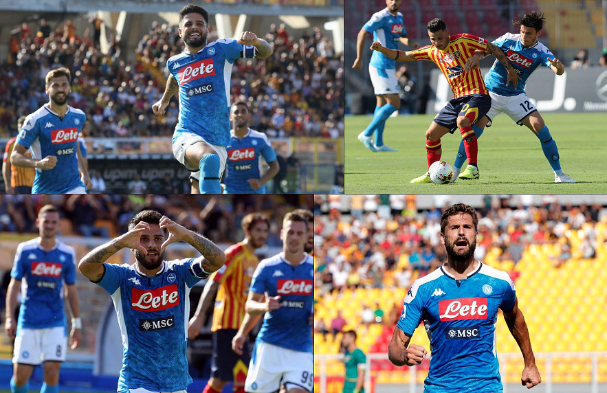Napoli fa poker a Lecce, doppietta Llorente e Ancelotti a -1 dalla Juventus in classifica.