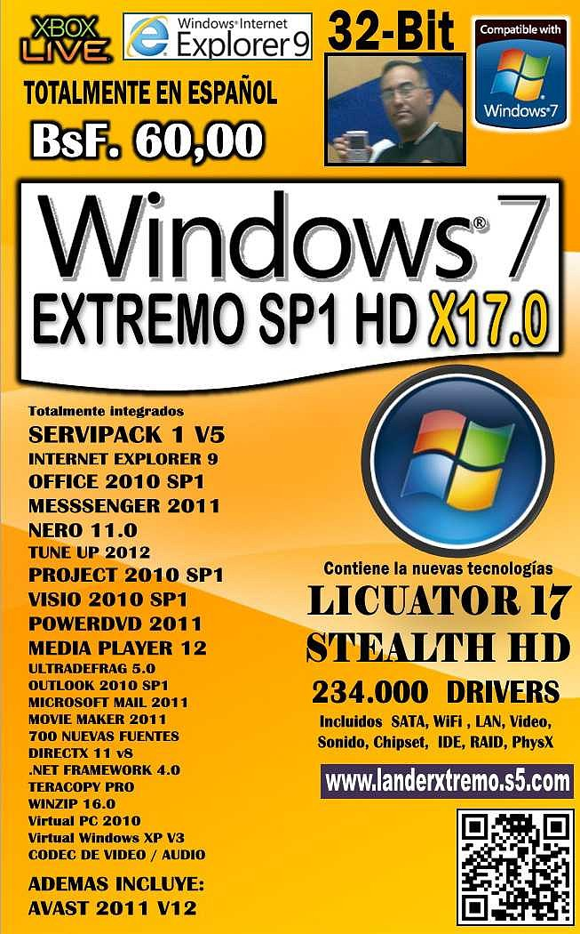 Windows 7 Extremo SP1 [HD X17.0] [x32 Bits] [ISO Español] [Varios Hosts]