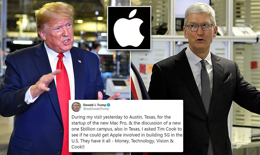 Il Tweet di Trump chiedendo a Apple una rete in 5G negli USA.