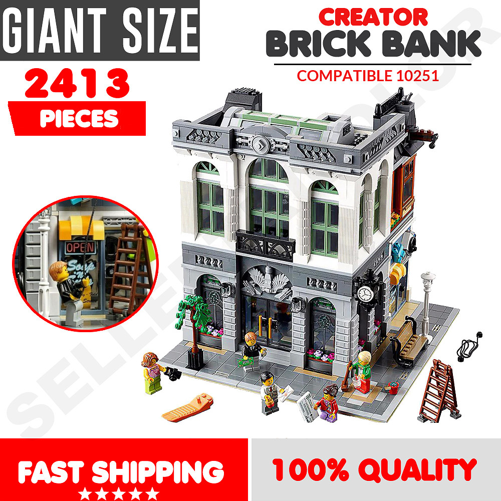 Fast Shipping New Custom Creator Brick Bank Compitible Lego 10251 Manual Books