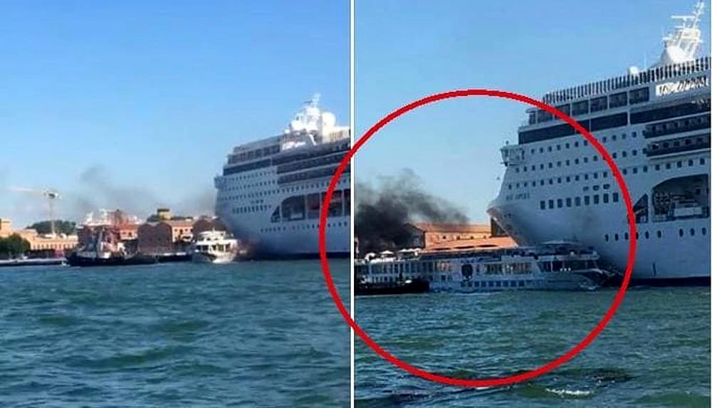Incredibile incidente a Venezia tra una Nave da Crociera MSC e un battello turistico