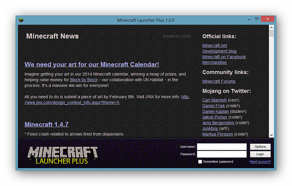 Download options for Minecraft